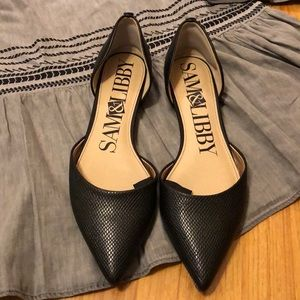 Sam & Libby Black pointed flats; NWOB; size 8.5
